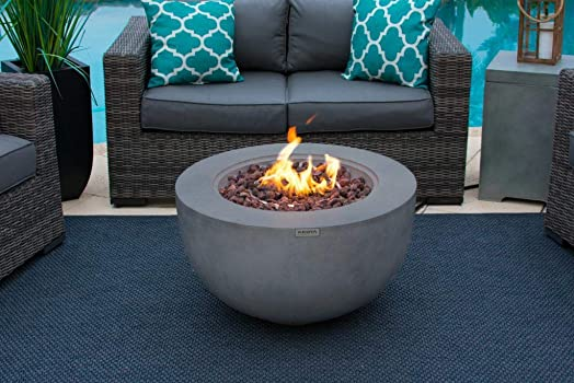 AKOYA Outdoor Essentials 30″ Fiber Concrete Outdoor Propane Gas Fire Pit Table Bowl