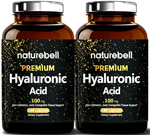 Maximum Strength Hyaluronic Acid Plus, 100mg,180 Capsules, Powerfully Support Skin Hydration & Joints Lubrication. Made in USA. (2 Pack)