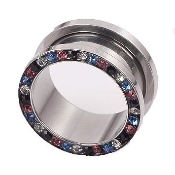 Kit de dilatadores para orejas Acero inoxidable recubierto electrónicamente con cristal coloreado Tapones para los oídos Túnel Expansor de orejas Camilla y ...