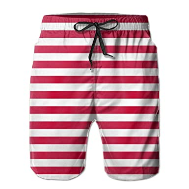 a299be0bb5 GAMSJM Fashion Swim Trunks Mens Board Shorts Red and White Stripes Quick  Dry Shorts