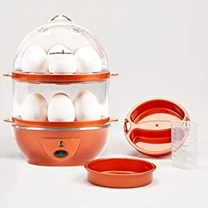 Copper Chef Electric Egg Cooker Set - 7 or 14 Egg Capacity. Hard Boiled Eggs, Poached Eggs, Scrambled Eggs, or Omelets Automatic Shut Off.