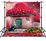 6X6FT Cartoon Photography Backdrops Alice in Wonderland Backdrop Red Dreamland Fair Tale Mushroom House Rabbit Magical Background for Children Art Studio or YouTube Background Props ST660246