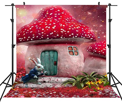 6X6FT Cartoon Photography Backdrops Alice in Wonderland Backdrop Red Dreamland Fair Tale Mushroom House Rabbit Magical Background for Children Art Studio or YouTube Background Props ST660246 -