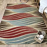 Maxy Home Pasha Stripe Wave Multicolor 7 ft. 10 in. x 10 ft. 6 in. Area Rug