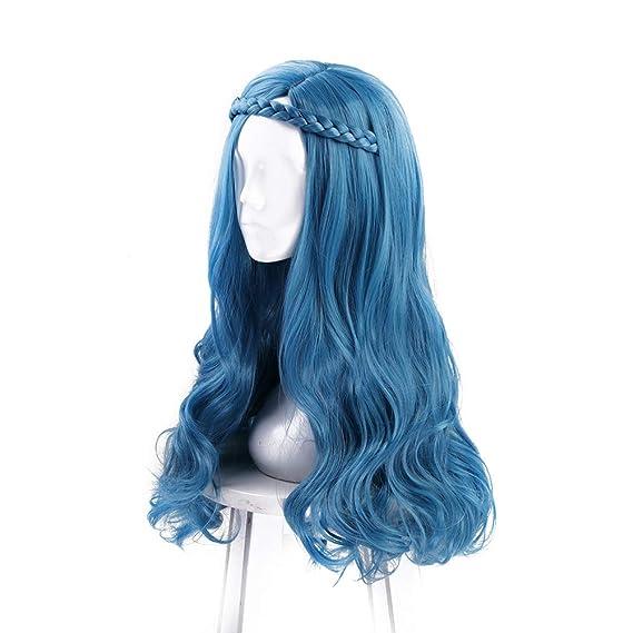 Largo Ondulado Azul Cosplay Peluca Halloween Disfraz Fiesta Pelucas Para Mujer: Amazon.es: Belleza
