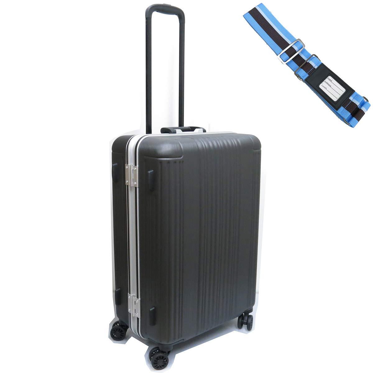 [セット品] (シフレ) Siffler SIF1065-M (58) 60L 受託手荷物無料サイズ スーツケースベルト 【合計2点セット】 B07JDDTP9P ヘアラインガンメタリック ヘアラインガンメタリック