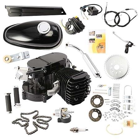 HPcutter Kit de Motor para Bicimoto de Dos Tiempos y 80 cc en Silenciador cromado Gas Engine Motor 2 Stroke Cycle Electric Bicycle Bike (Negro): Amazon.es: ...