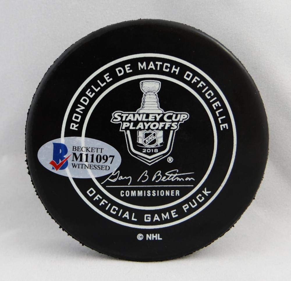 Alexander Ovechkin Autographed Washington Capitals Stanley Cup Game 5 Puck Beckett/Fanatics Auth Silver logo