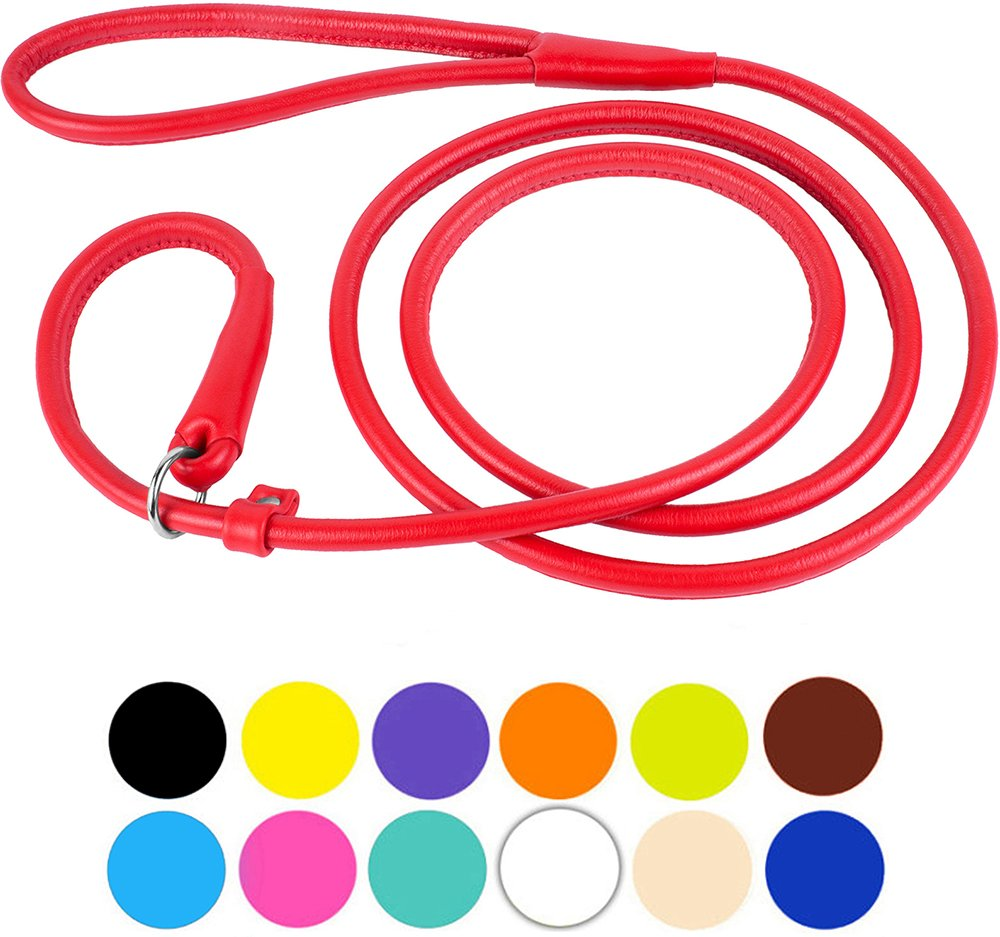 CollarDirect Rolled Leather Dog Leash 6ft or 4ft, Heavy Duty Slip Lead, Slip Leashes for Small Medium Large Dogs, Round Puppy Leash Female Male Pink Black Brown Red (XL 6ft, Red)