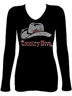 867e5432f9a Rockeroo Boutique Country Diva Rhinestone Cowgirl Hat Western Womens V Neck  Long Sleeve Tee Shirt
