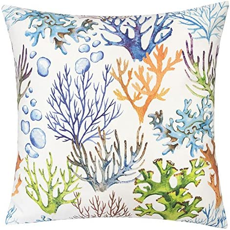 Homey Cozy Outdoor Accent Pillow Cover,Coral Island Large Water UV Stain-Resistance Nautical Decorative Replacement Cushion Cover 20×20, Cover Only