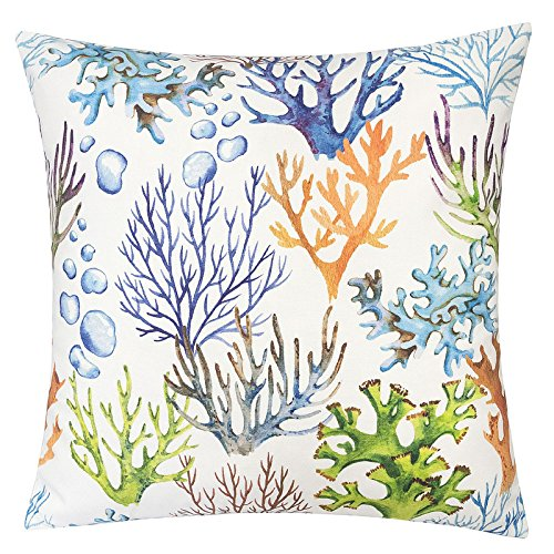 Homey Cozy Outdoor Accent Pillow Cover,Coral Island Large Water/UV/Stain-Resistance Nautical Decorative Replacement Cushion Cover 20x20, Cover Only (Nautical Accent)