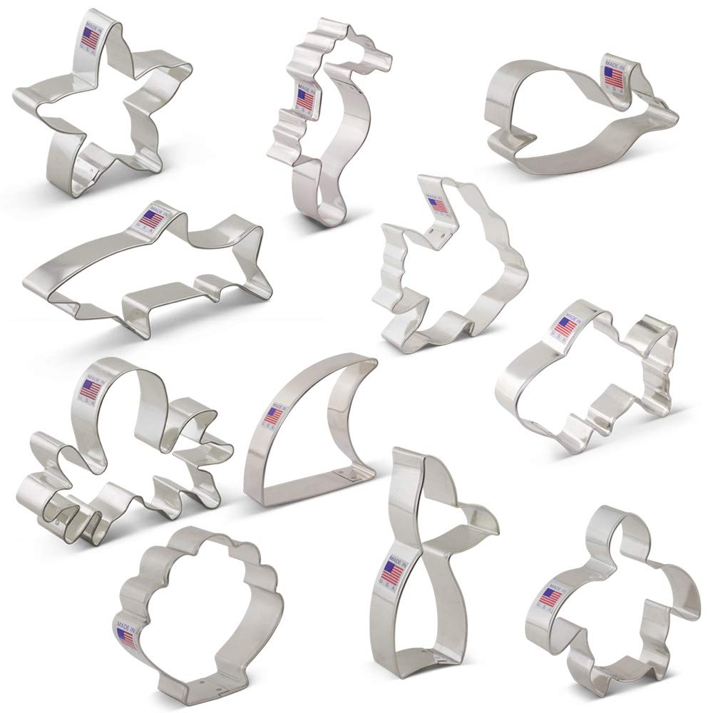 Under the Sea Cookie Cutter Set with Recipe Booklet - 11 piece - Shark, Whale, Fish, Mermaid Tail, Sea Turtle & More - Ann Clark - USA Made Steel by Ann Clark Cookie Cutters (Image #3)