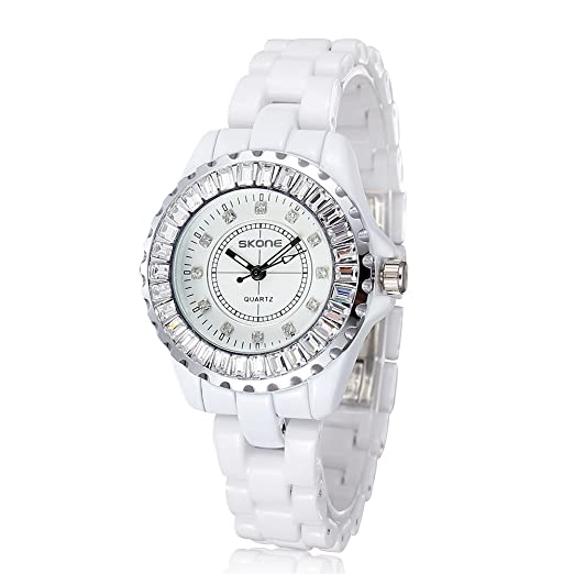 HWCOO Relojes de pulsera Reloj de pulsera de imitación de diamantes de imitación blanco Lady Relojería de señora Quartz de diamantes de aleación (Color ...