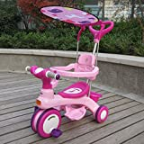 QXMEI Children's Tricycle Trolley Pedal Three-in-one Baby Stroller Awning Baby Carriage 1 to 6 Years Old,Pink1
