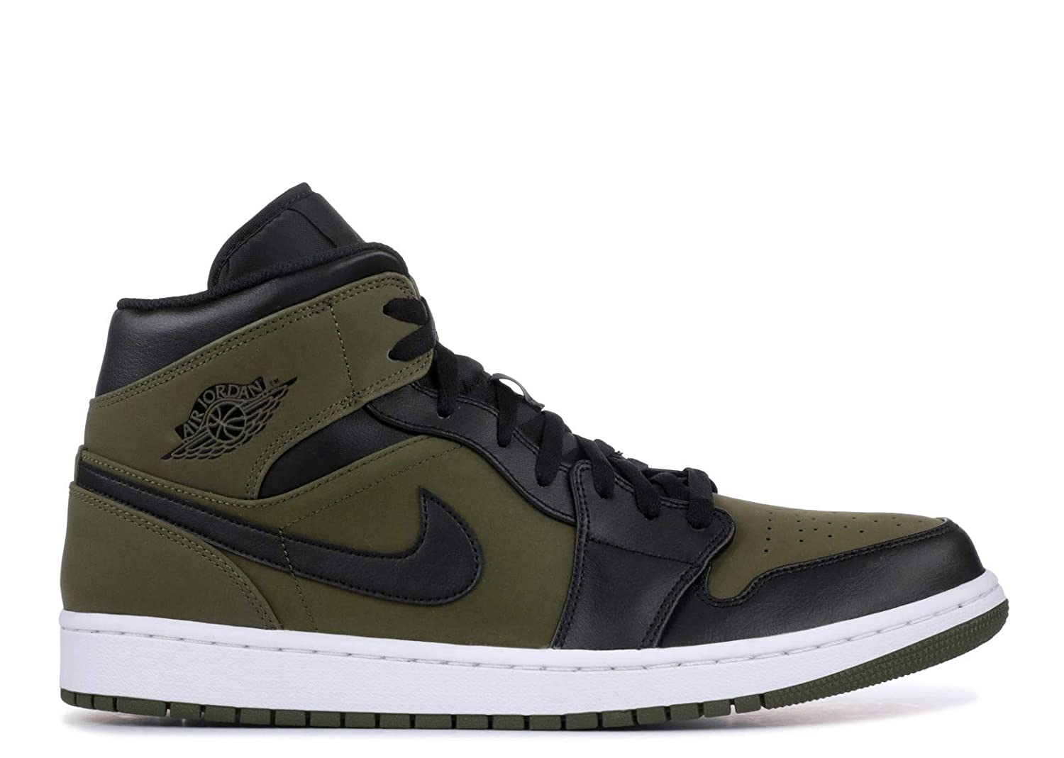 finest selection bc5a4 ab5ba Amazon.com   Nike Mens Air Jordan Retro 1 Mid Basketball Shoes Olive  Canvas Black-White 554724-301 Size 11   Basketball