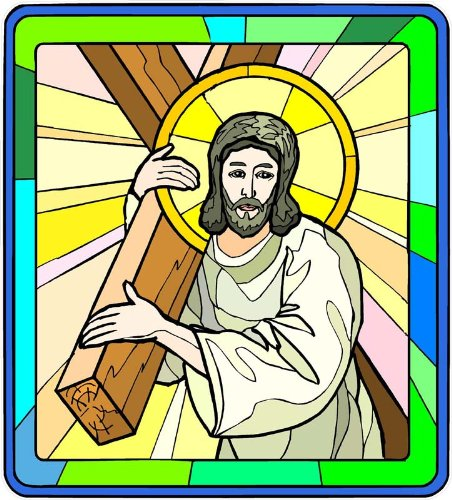 Jesus Christ Carrying the Cross - Etched Vinyl Stained Glass Film, Static Cling Window Decal