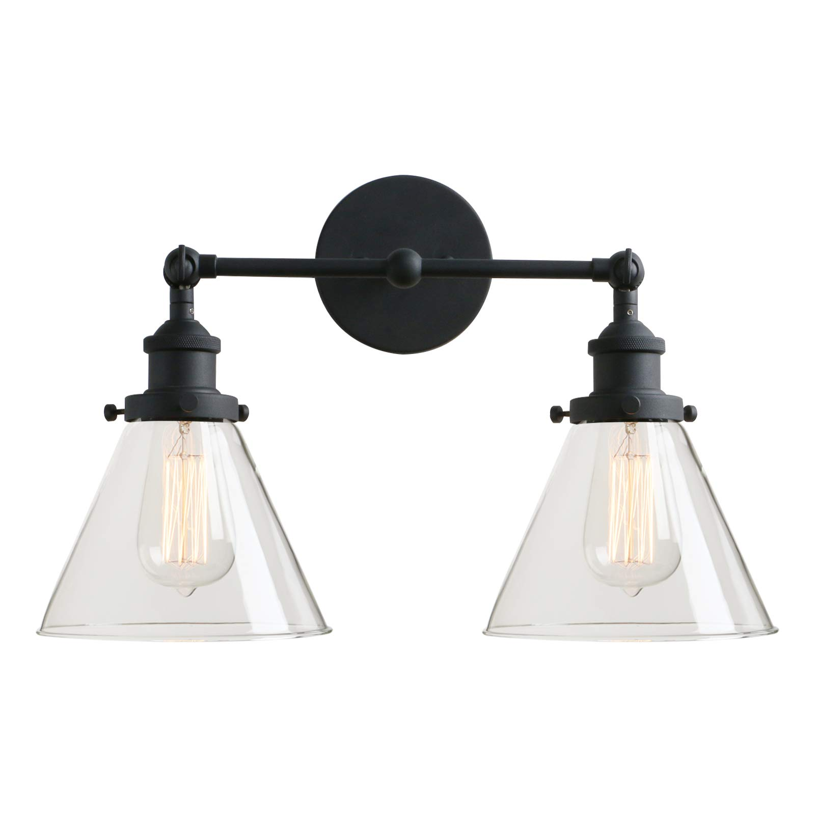 Permo Vintage Industrial Antique 2-Lights Wall Sconces with Dual Funnel Clear Glass Shade (Black)
