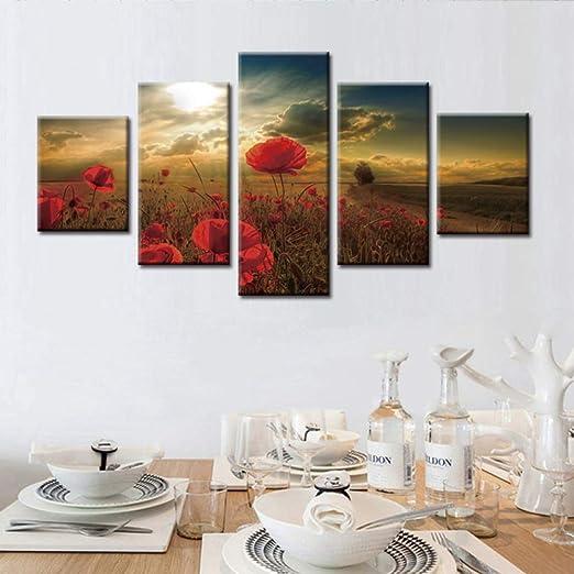 adgkitb canvas Cuadro de 5 Piezas Enmarcado Serie de Flores ...