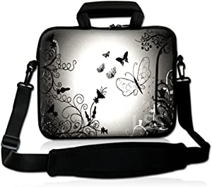 "LSS 13.3 inch Laptop Sleeve Bag Notebook with Extra Side Pocket, Soft Carrying Handle & Removable Shoulder Strap for 12"" 12.1"" 13"" 13.3"" Apple MacBook Air, GW, Acer, Aspire Asus, Dell, HP, Sony, Toshiba, Samsung - Dark Contrast Fade Butterfly"