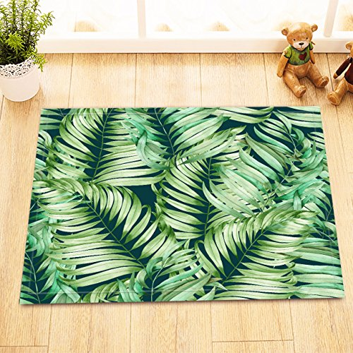 LB Green Tropical Leaves Decor Small Bedroom Rugs, Soft Microfiber Surface Non Slip Rubber Backing, Jungle Frond Leaf Bathroom Rug 15 x 23 (Jungle Carpet)