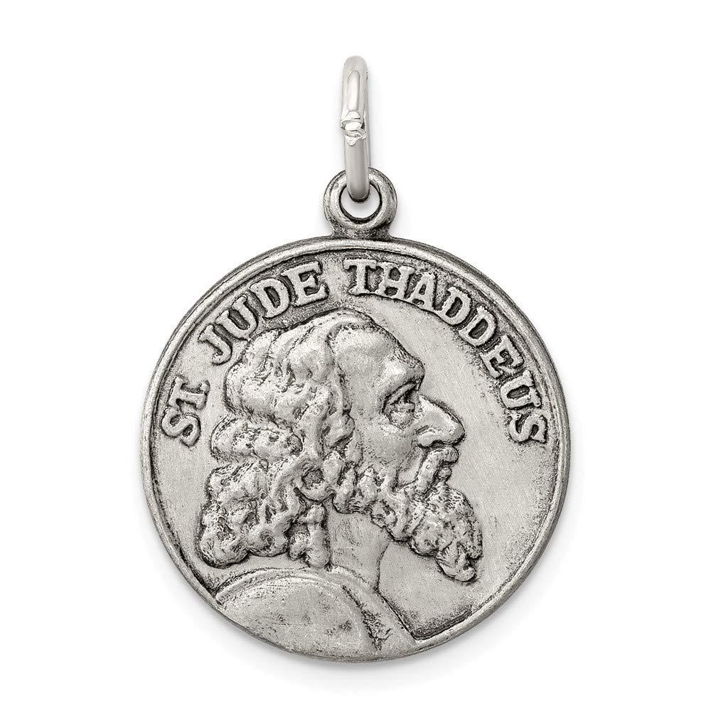 Solid 925 Sterling Silver Saint Jude Thaddeus Medal ( 20 mm X 26 mm   B076BLLQRG