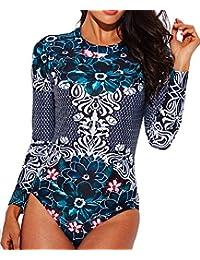 Women's Rashguard Long Sleeve Zip UV Protection Print...