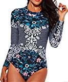 Funnygirl Women's Rashguard Long Sleeve Zip UV Protection Print Surfing Swimsuit Swimwear Bathing Suits
