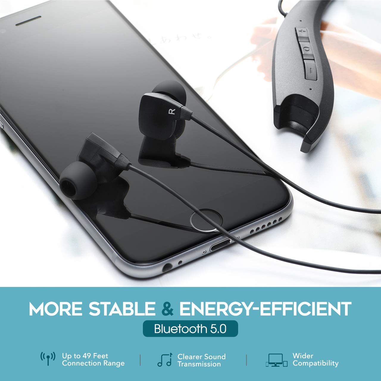 Mpow Upgraded Jaws Gen5 Bluetooth Headphones V5.0 Bluetooth Neckband Headset, 18H Playtime, Bluetooth Magnetic Earphones W/Call Vibrate & CVC 6.0 Noise Cancelling Mic, Wireless Neckband Headphones. by Mpow (Image #2)