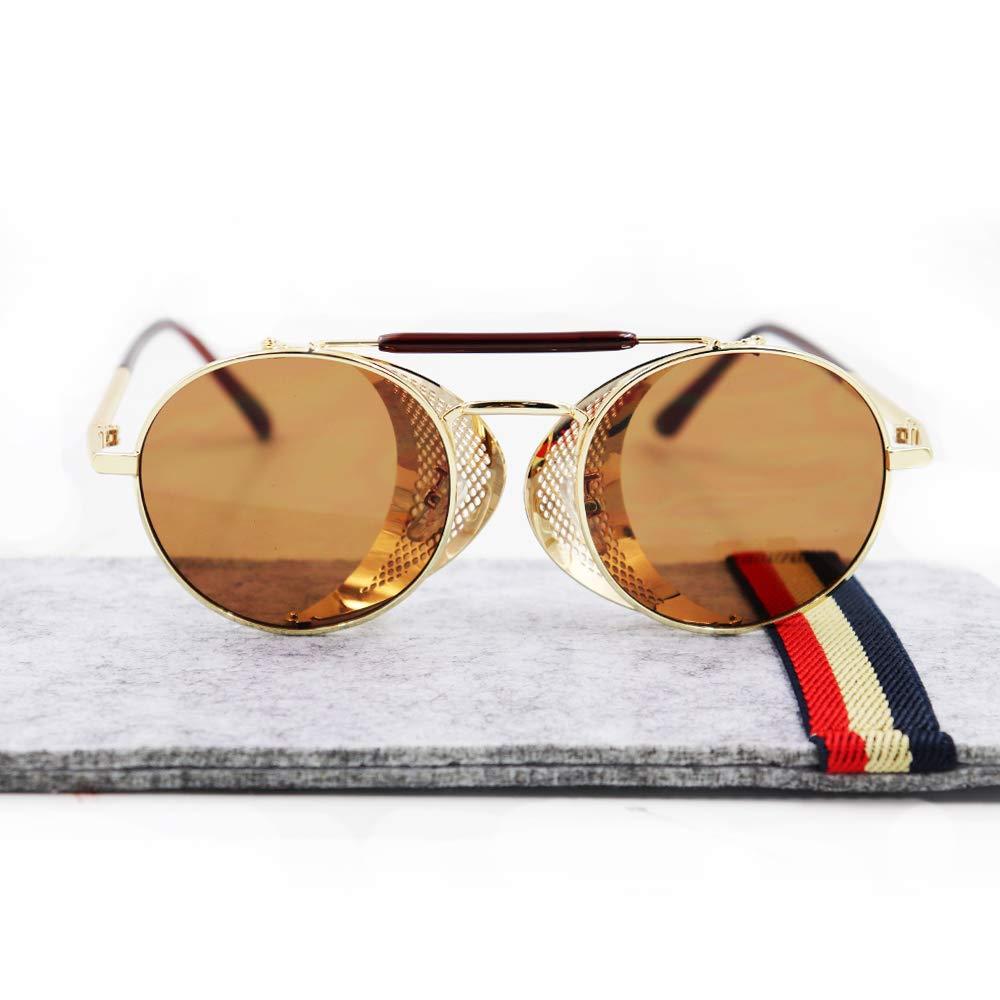 Ibeauti Retro Round Steampunk Sunglasses Side Shield Goggles Gothic Sunglasses IB-180124-001