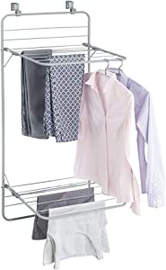 mDesign Over Door Foldable Laundry Drying Rack - Compact, Portable, and Collapsible for Storage - Double Shelf - Silver/Gray