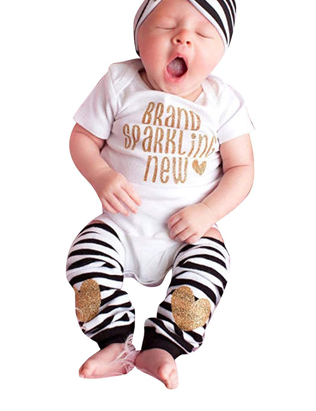 LEANO Cute Unisex Infant O Neck Rompers Jumpsuit Baby Summer Clothing Striped Leggings Bodysuits