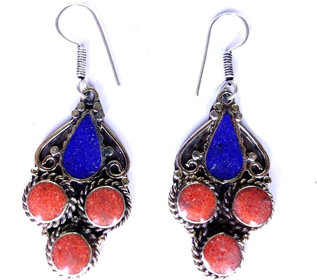 Pendientes tibetanos de la manera hecha a mano de la piedra preciosa del coral y del lapislázuli para las mujeres 925 plateado plata único cuelgan el bohemio bohemio del budista que cuelga la joyería