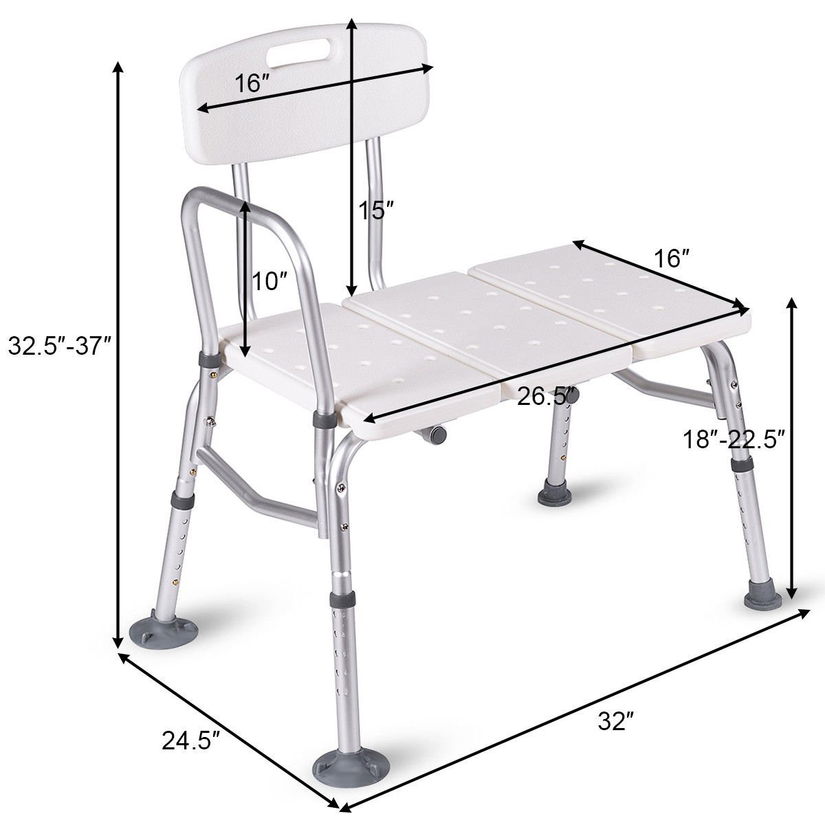Giantex Shower Bath Seat Medical Adjustable Bathroom Bath Tub ...