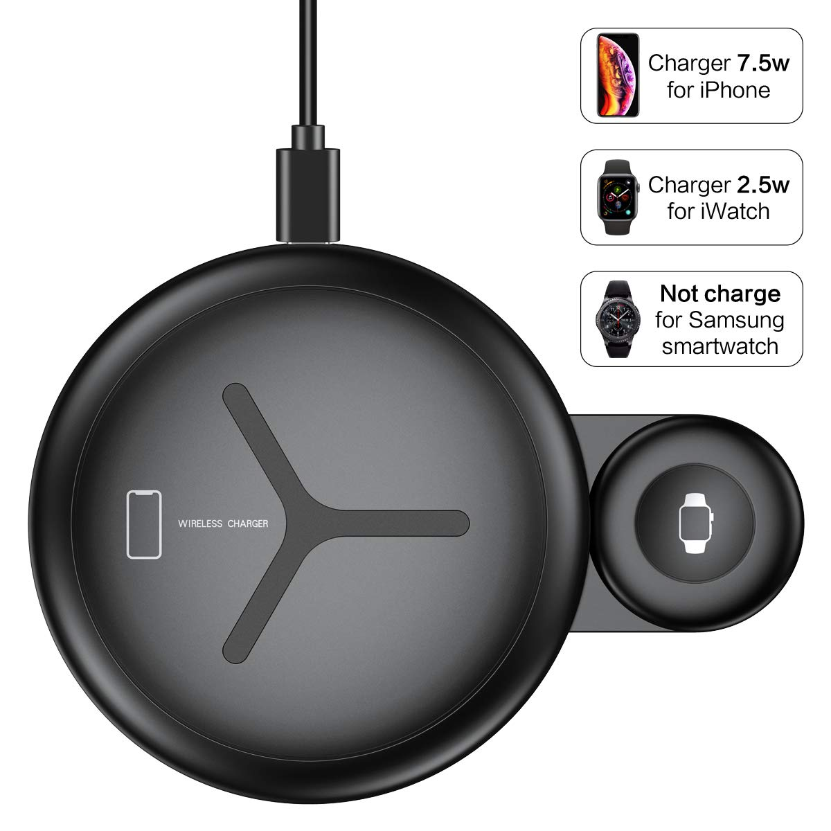 2 in 1 Wireless Charger FLOVEME 10W Wireless Charging Pad Qi Fast Wireless Charging Station Compatible for Apple Watch Series 4/3/2/1 iPhone Xs Max/XR/X/8 Plus/8 Samsung Note 9/8 and More