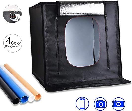 Caja De Luz Pequeña para Estudio Fotográfico, Caja De Luz Suave Portátil Plegable para Fotos Adecuada para Teléfono Móvil/Cámara Fotográfica (Tela De Fondo De 4 Colores): Amazon.es: Hogar