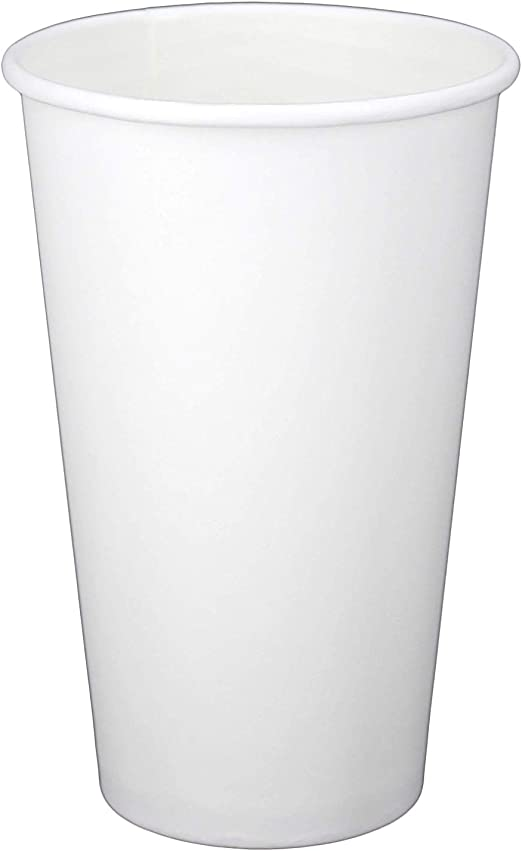 100 X 16oz Blanco Papel Taza de una sola pared Desechable Té Café Cappuccino Espresso
