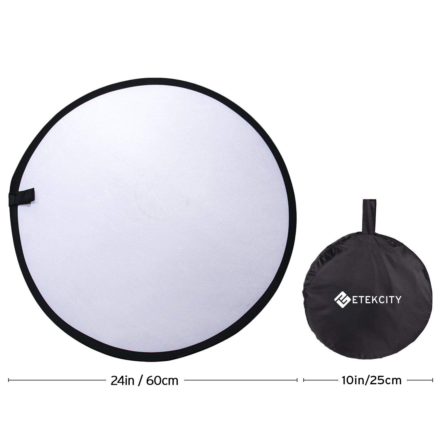 Etekcity 24'' (60cm) 5-in-1 Photography Reflector Light Reflectors for Photography Multi-Disc Photo Reflector Collapsible with Bag - Translucent, Silver, Gold, White and Black by Etekcity