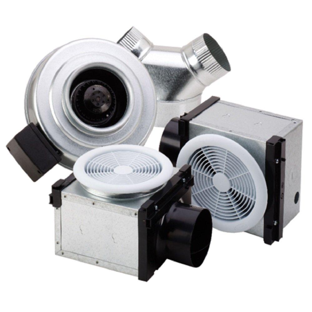 Fantech PB370-2 Series Vent Two Locations - one Fan Width 17, Height 17, Depth 22, USA, Inline Bath Fan Kit, Low Noise (Low Sone), 370 CFM, Remote Mount Fan, Vent Two Locations - one Fan