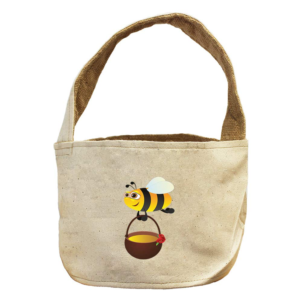 Style in Print Bee with Honey Animals Canvas and Burlap Storage Basket
