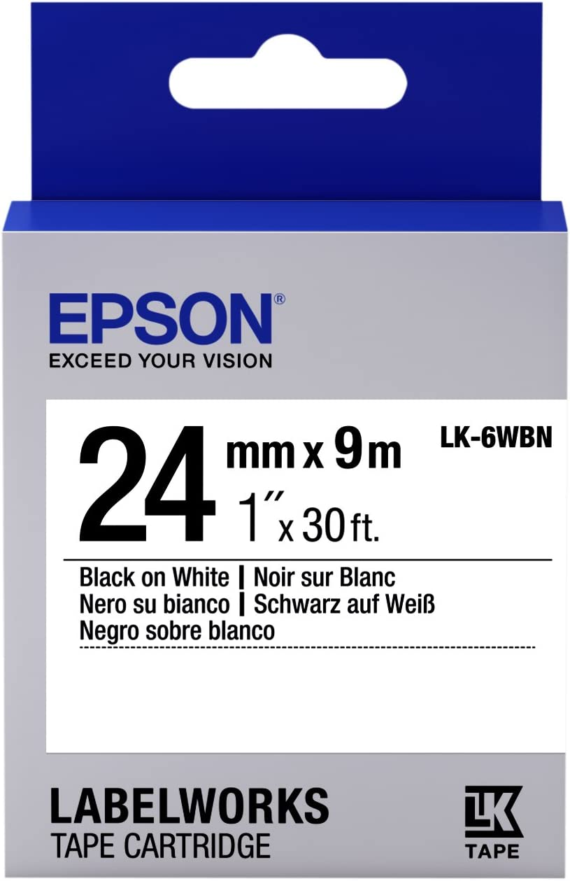 """Epson LabelWorks Standard LK (Replaces LC) Tape Cartridge ~1"""" Black on White (LK-6WBN) - for use with LabelWork LW-600P and LW-700 Label Printers"""