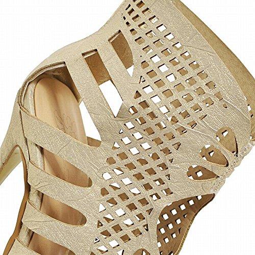 MissSaSa Donna Scarpe col Tacco Alto Spuntato Moda (34, oro)