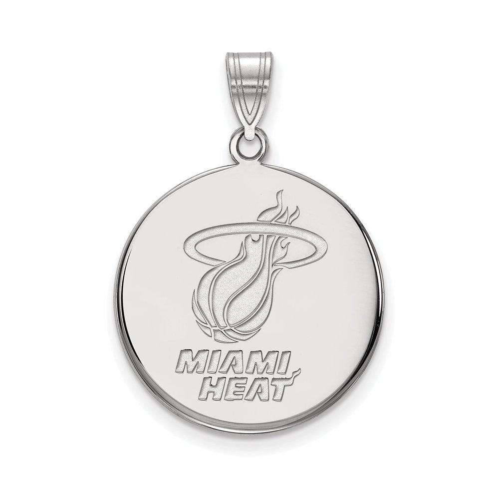 NBA Miami Heat Large Disc Pendant in 10K White Gold