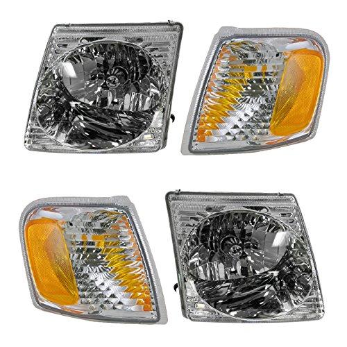 Headlight Headlamp Park Light Lamp Kit Set of 4 for Ford Explorer Sport (Ford Explorer Sport Trac Headlamp)