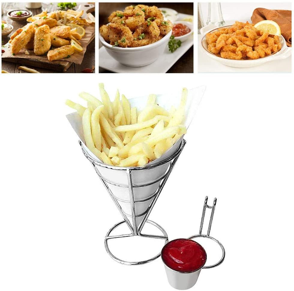 Double Cup Durable Chip Stand Holder Snacks French Fry Fries Display Rack Fries Baskets French Fry Holder Stand