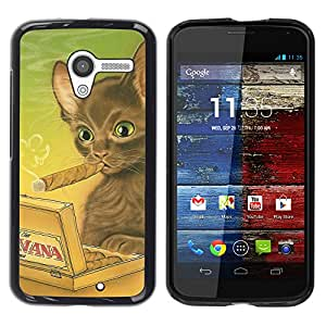 COVERO Motorola Moto X 1 1st GEN I XT1058 XT1053 XT1052 XT1056 XT1060 XT1055 / havana cat brown cigar art drawing / Prima Delgada SLIM Casa Carcasa Funda Case Bandera Cover Armor Shell PC / Aliminium