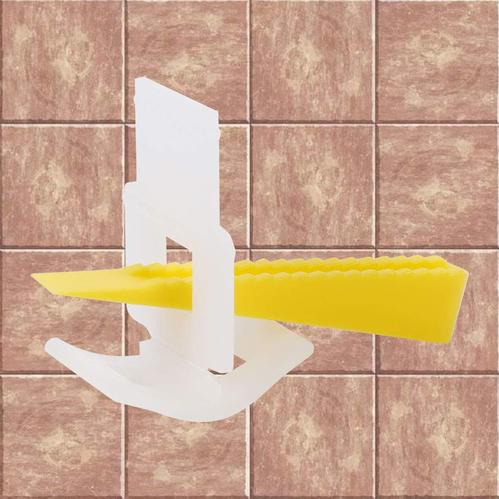 500 Clips and 200 Wedges Plastic Floor Wall Tile Leveler Spacers Flat Leveling System Tools Mootea Tile Leveler Spacers