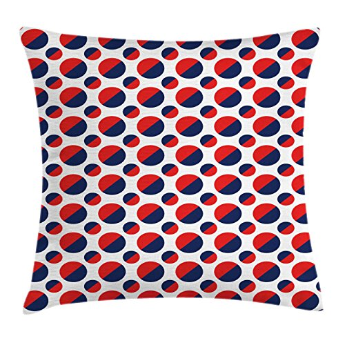 """Ambesonne Geometric Throw Pillow Cushion Cover, Abstract Colorful with Half Circles Rounds Artwork Image, Decorative Square Accent Pillow Case, 20"""" X 20"""", Navy Red"""