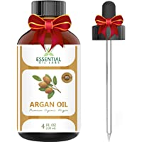 Argan Oil - 100% Pure and Natural Organic Moroccan - 4 Oz. with Glass Dropper - Cold Pressed - Excellent for Face, Skin, Nails and Hair Care, Beauty in a Bottle by Essential Oil Labs