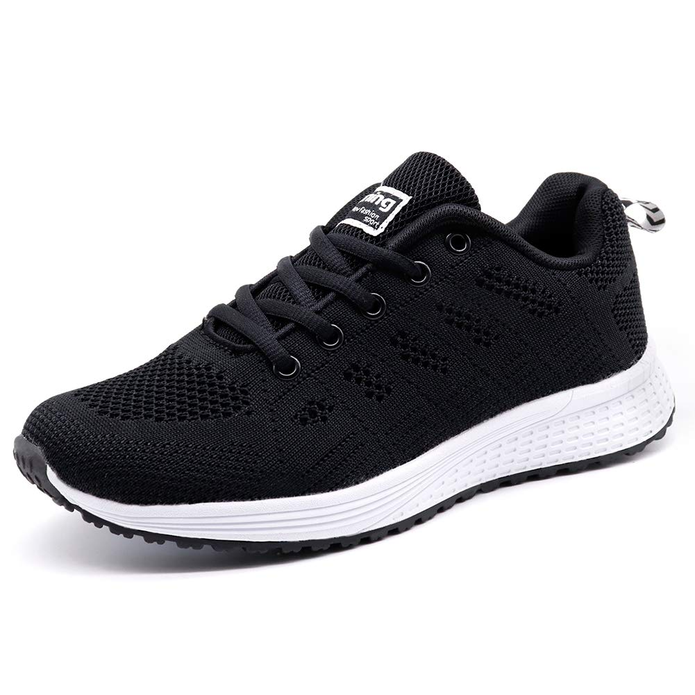 STQ Women's Athletic Walking Shoes Lightweight Gym Mesh Comfortable Trail Athletic Running Shoes(A08hei36) Black